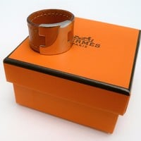 "Hermes Ring ""H"" Orange Leather and Silver Tone w/ Pouch and Box Size L"