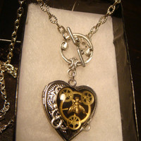 Steampunk Clockwork Gears with Tiny Bee Heart LOCKET Necklace - Great VALENTINES DAY Gift (1550)