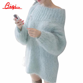 Qiqi 2016 Women Sweater Loose Soft Thick Korean Solid Long Sleeve Slash Neck Mohair Elasticity Knitted Jumper Sweaters Pullover