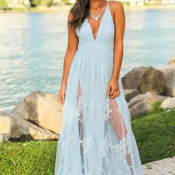 Light Blue evening dress,V-Neck party dress, Lace long prom dress, evening dress,prom dresses K5412