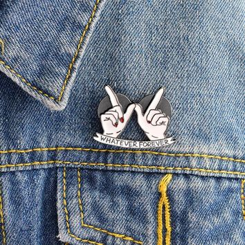 Whatever Forever Heart in Hand Brooch Best Friends Enamel Pins Buckle Denim jacket Coat Collar Pin Badge Fashion Jewelry Gift