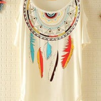 Dream Catcher Ethnic Rivet Strapless T-shirt