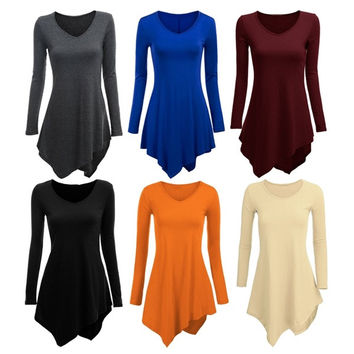Sexy Women Casual Dress Deep V Neck Irregular Slim Fit = 1956882052