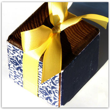 Personalized Stained Pine Wood Block Embellished with Navy Blue and White Damask Decorative Paper and Finished with a Light Yellow Bow