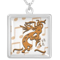 Right Facing Kokopelli Musician With Musical Notes Silver Plated Necklace