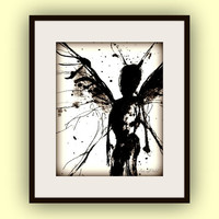 Fairy Art, Magical, Faerie, Black&White, ink painting, Angel, 8x10 Print