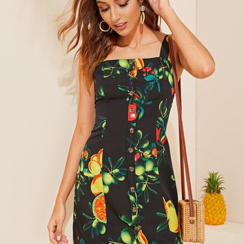 Fruit Print Button Through Shirred Back Pinafore Dress