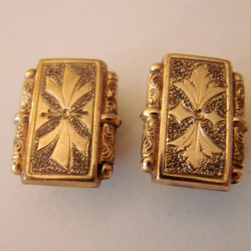 Intricately Etched Edwardian Antique Early 20th Century Cufflinks / Cuff Buttons / Gold Plate / Vintage Wedding / Mens Jewelry