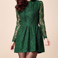 Green Lace Long Sleeve Mini Dress