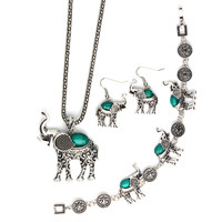 Vintage Tibetan Silver Plated Turquoise Stone Elephant Jewelry Sets Women Fashion Animal Pendant Party Necklace Bracelet Earring