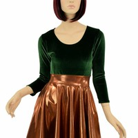 Green Velvet & Copper Skater Dress