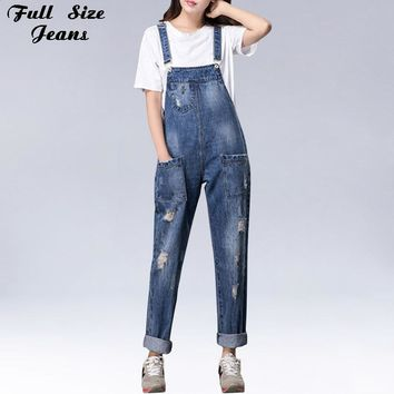 Plus Size Women Wide Leg Loose Ripped Denim Overalls Europe Jumpsuit Boyfriend Hole Pockets Jeans Romper S M Xl 3Xl 5Xl 6Xl
