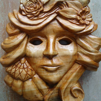 Gorgeous hand carved Venetian mask - Wooden mask - Venetian Mask - New Orleans art - Wood sculpture - Wall decor - Home decor - Wood mask