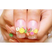20 PCS 1cm Cute Fruit Pattern Nail Art Fimo Canes Sticks Stickers