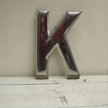 "Vintage 16"" Chrome Plated Metal Letter K Mid Century Architectural Salvage Letter"