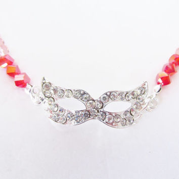 Pink Masquerade Necklace - Silver Rhinestone Mask Necklace - Beaded Red Crystal Necklace - Masquerade Party / Prom Jewelry / Party Favors
