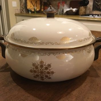 ASTA Vintage Heavy Casserole 4 QT Pot w/ Lid Enamel - Cream / Gold Germany EUC