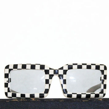 Funky - Vintage Retro Sunglasses - Checkered - Black and White - Geometric - Debs Made in France