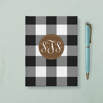 Buffalo Plaid Monogram journal, Writing Journal, Personalized Hardcover Notebook, Initials Name Book, Unique Gift Under 20