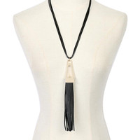 Golden Cut Out Long Pendant PU Multirow Necklace