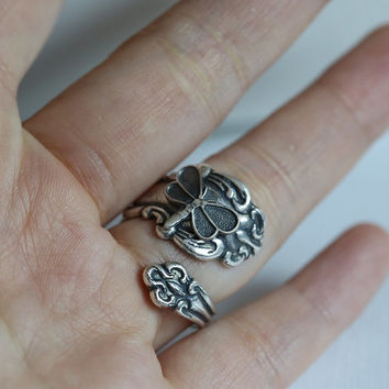Antique Spoon Ring, Dragonfly Ring, Silver Spoon Ring,,Antique Ring,Silver Ring,Wrapped,Adjustable,Bridesmaid.