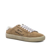 Saint Laurent Embroidered Suede Court Classic Sneakers in Desert & Optic White | FWRD