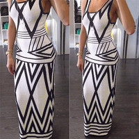 Geometric Print Summer Long Maxi Dress