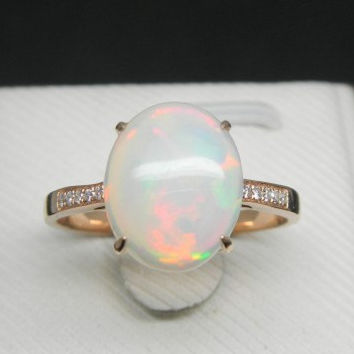 Engagement Ring - 2.5 Carat Opal Ring With Diamonds In 14K Rose Gold