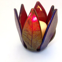Fused Glass Votive Candle Holder Autumn Leaves Silver  Purple Copper 514