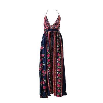Missing Your Chance Red Navy Blue Floral Pattern Sleeveless Spaghetti Straps V Neck Halter Split Casual Maxi Dress