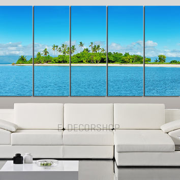 Large Wall Art Canvas Blue Sea Landscape and Beach 5 Piece - Tropical Island and Ocean View Large Canvas Painting