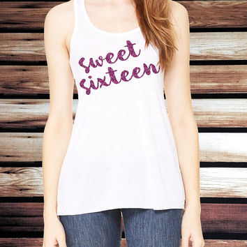 Sweet Sixteen Tank Top - Sweet Sixteen Birthday Tank Top - Sweet 16 Shirt