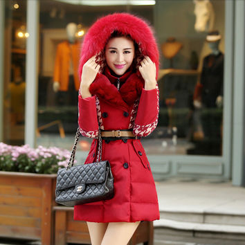 Korean Style New Fashion Women Winter Coat Hooded Fur collar Super Warm Duck Down Down jacket Slim Leisure Big yards Coat G2285