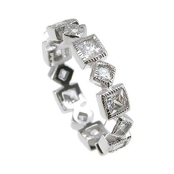 Plutus Brands 925 Sterling Silver Rhodium Finish CZ Princess Eternity Wedding Band 1 Carat weight- Size 8