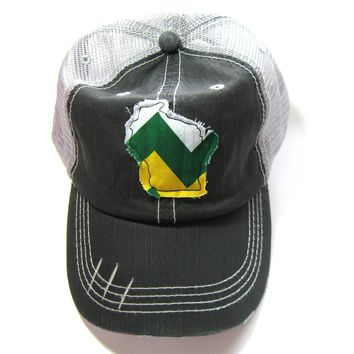 Black and Gray Distressed Trucker Hats - Wisconsin Home Green and Gold