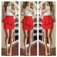 Peplum Mini Ruffle Skirt - Red