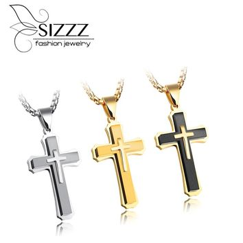SIZZZ Europe and the United States hip - hop titanium men 's cross necklace pendant three - dimensional three - level ornaments