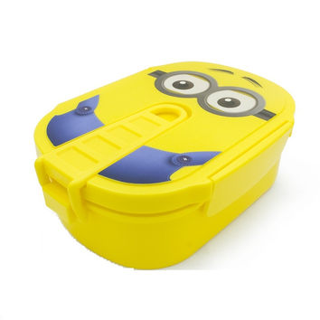 1pc Cute Cartoon Minions Microwave Oven Bento Container Case With Plastic Portable Lunch Boxes For Students Or Kids (00148)