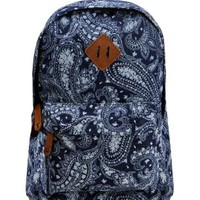 ZLYC Women Girls Fashion Denim Paisley Print Casual Travel Rucksack Canvas School Backpack Blue