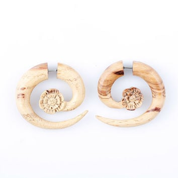 "Fake Gauge Earrings - Organic Tamarind Wood Earrings - Ethnic Fake Piercing - ""Tamarind Wood Flower Spiral-Large"" Fake Plugs Tribal Earrings"