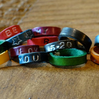Personalized and Customize Leather Ring / Blue / Green / Red / Brown / Purple Cuff / Initials / Love / Couples / Promise Ring