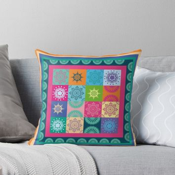'Colorful Bohemian Patchwork' Throw Pillow by Anna Lemos