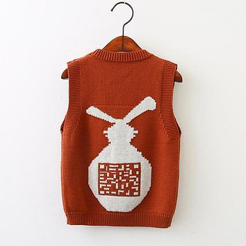 Baby Boys Sweater Boutique Knitted Wool Cartoon Rabbit Vest