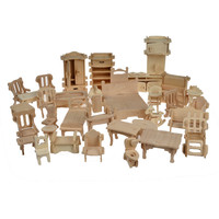 1SET=34PCS , BOHS Wooden  Doll House Dollhouse Furnitures Jigsaw Puzzle  Scale Miniature Models  DIY Accessories Set