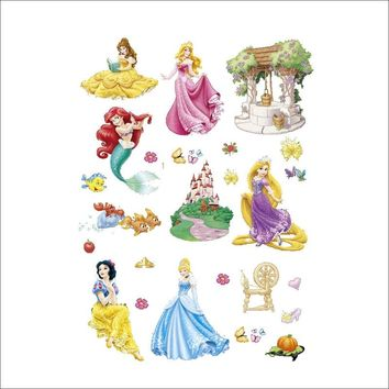 Disney Kids DIY sticker Mermaid Cinderella princess Children's room decoration kindergarten stickers cartoon snow White sticker