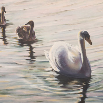 """THREE SWANS   Oil Painting on Canvas   16"""" x 20""""  Unframed"""