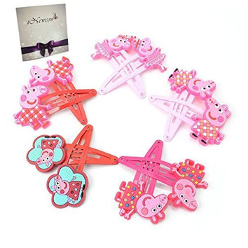iNewcow Peppa Pig Hair Clips Bows Hairpin Girls Children Headwear (5 Matching Pairs)