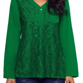 Fashion Green Lace Panel Split Neck Roll Tab Sleeve Blouse