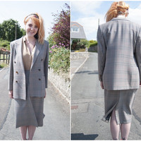 St Michael Marks Spencer Womens Beige Tweed Wool Ladies Blazer & Skirt Set UK 16