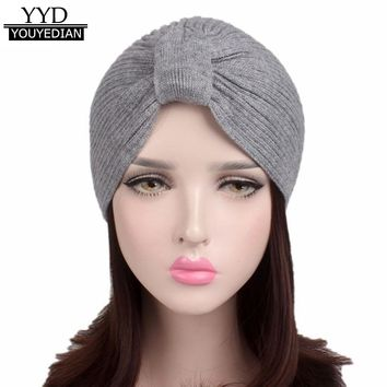 2017 Fashion Beanies Women Ladies Solid Winter Knitting Hat Turban Brim Hat Pile Cap Muslim Hat For Woman Sombrero Mujer *1121